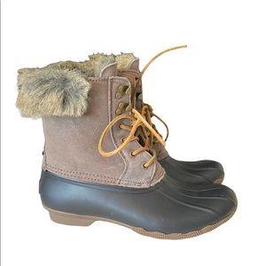NWOB Sperry Women's Brown/Gray Suede Rubber Rain Duck Boots Faux Fur Trim